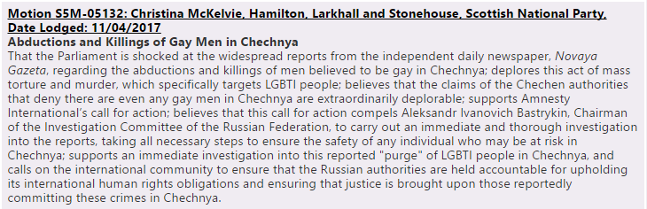 Chechnya motion