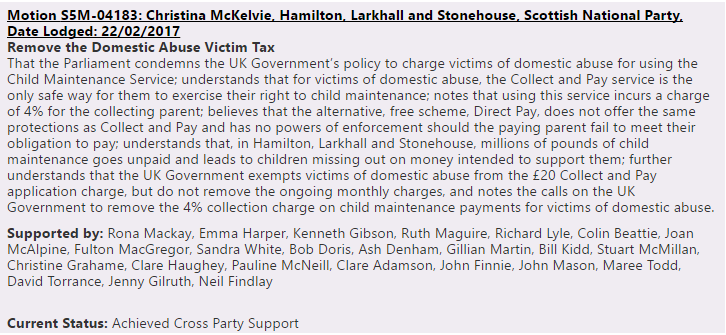 Remove The Tax on Domestic Abuse Victims Cross Party Support