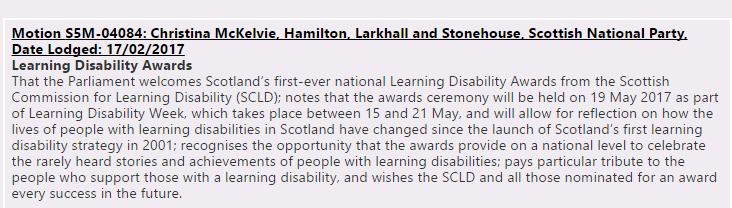 Learning disability awards Motion